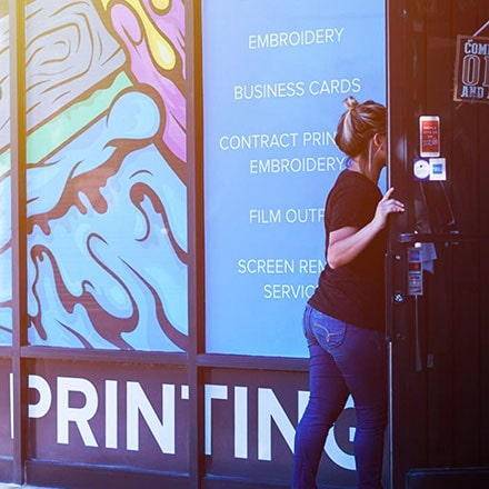 Discovertee screen printing and embroidery entrance